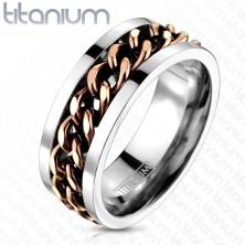 Tytanowy pierścionek - łańcuch miedzianego koloru