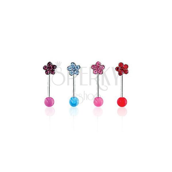 Piercing do brwi - Flower on UV Ball