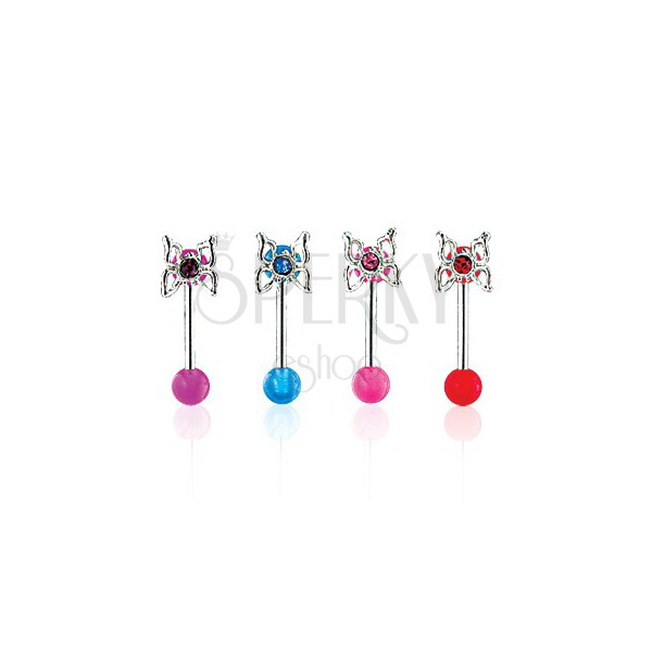 Piercing do brwi Butterfly on UV Ball