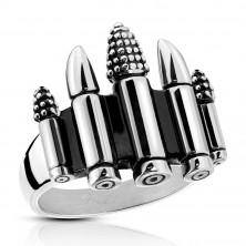 Patynowany stalowy pierścionek srebrnego koloru - pięć nabojów, 4 mm