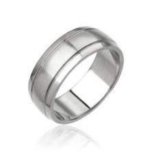 Męski pierścień ze stali - matowy pas środkowy