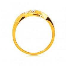 Pierścionek z 14K złota - cienkie splecione ramiona z cyrkoniami, okrągła błyszcząca cyrkonia