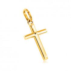 Zawieszka z żółtego 9K złota - krzyż o gładkiej i lustrzano lśniącej powierzchni
