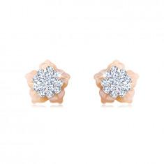 Kolczyki z 14K złota - kwiatek z kryształkami Swarovskiego, płatki z różowej masy perłowej, sztyfty