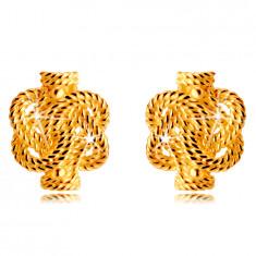 Kolczyki ze złota 14K - przeplatane paski ze wzorem sznura, sztyfty