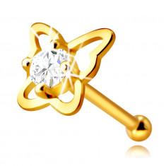 Złoty piercing do nosa z 14K złota - kontur motyla z okrągłą bezbarwną cyrkonią, 2,25 mm