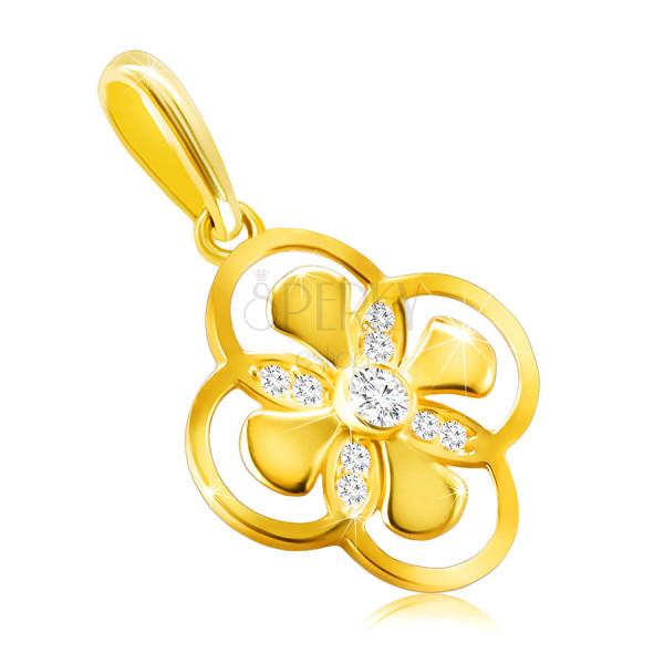 Zawieszka ze złota 14K - kwiatek z połączonymi płatkami, cyrkonia w oprawie
