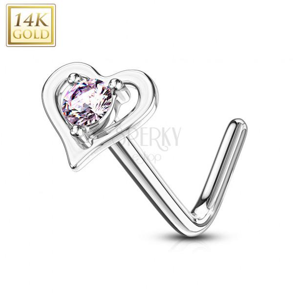 Zakrzywiony piercing do nosa z 14K złota - kontur serca z różową cyrkonią