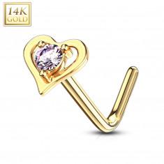Zakrzywiony piercing do nosa z żółtego 14K złota - kontur serca z różową cyrkonią