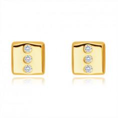 Kolczyki z 14K złota - prostokąt z trzema okrągłymi przezroczystymi cyrkoniami, sztyfty