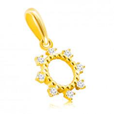 Zawieszka z 14K złota - krążek z cienkimi patyczkami, błyszczące okrągłe cyrkonie