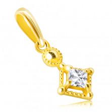 Zawieszka z 14K złota - mała błyszcząca kwadratowa cyrkonia w ozdobnej oprawie