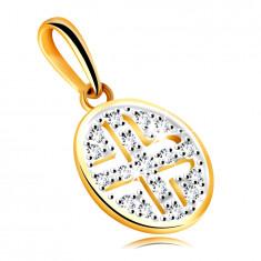 Złota zawieszka z żółtego złota 585 - okrąg ozdobiony okrągłymi cyrkoniami, czarne poszycie