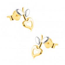 Kolczyki z łączonego 14K złota - serduszko z wycięciem, łodyga z liśćmi, sztyfty
