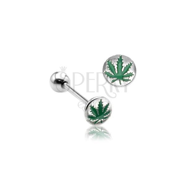 Piercing do języka liść marihuany