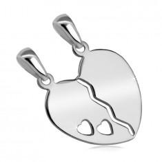 Podwójny wisiorek ze srebra 925 - przepołowione serce z wycięciem z dwóch małych serduszek