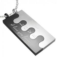 Stalowa zawieszka Puzzle, srebrno - czarna