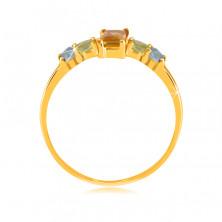 Pierścionek z żółtego14K złota - kwadratowy cytryn, okrągły oliwin i szwajcarski topaz