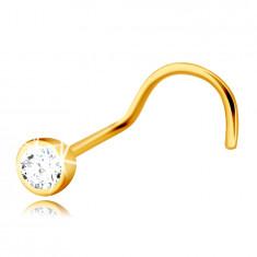 Diamentowy piercing do nosa z żółtego 14K złota - przezroczysty błyszczący brylant w oprawie
