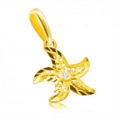 Diamentowa zawieszka z żółtego 14K złota - motyw rozgwiazdy, okrągły bezbarwny brylant