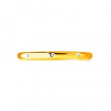 Brylantowa obrączka z żółtego 14K złota - trzy okrągłe bezbarwne diamenty, gładka powierzchnia