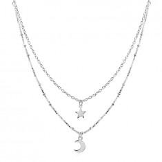 Srebrny 925 naszyjnik - podwójny łańcuszek, zawieszka z gwiazdą i półksiężycem