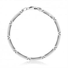 Bransoletka ze srebra 925 - prostokątne ogniwa z cienkich pasków, karabińczyk