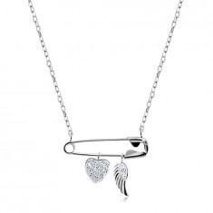 Srebrny naszyjnik 925 - agrafka z zawieszkami, serce z cyrkoniami, anielskie skrzydło