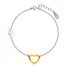Stalowa bransoletka z perłową kuleczką, zarys serca w kolorze złotym