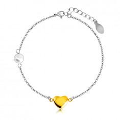Stalowa bransoletka - gładkie lśniące serduszko złotego koloru, perłowa kuleczka, drobny łańcuszek