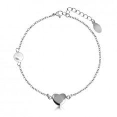 Stalowa bransoletka - gładkie lśniące serduszko srebrnego koloru, perłowa kuleczka, drobny łańcuszek