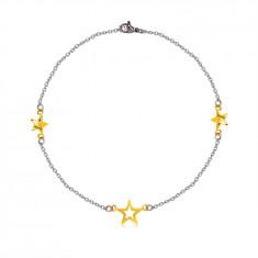 Stalowa bransoletka - trzy gwiazdki w złotym kolorze, delikatny łańcuszek
