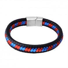 Bransoletka z czarnej skóry - zaplecione czerwono-niebieskie sznurki, zapięcie wsuwane