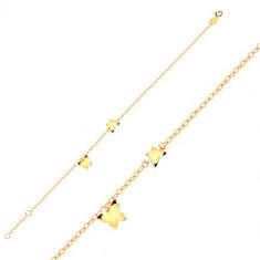 Złota bransoletka 9K - motyle w żółtym złocie, lśniący łańcuszek z owalnych oczek