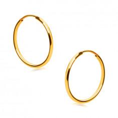Złote okrągłe kolczyki z 14K złota - cienkie okrągłe ramiona, gładka i lśniąca powierzchnia, 15 mm