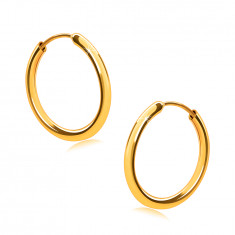 Złote kolczyki z żółtego 14K złota, kółka, okrągłe ramiona, gładka i lśniąca powierzchnia, 14 mm