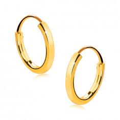 Małe okrągłe kolczyki z 14K złota - cienkie kwadratowe ramiona, lśniąca powierzchnia, 13 mm