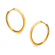 Złote okrągłe kolczyki z 14K złota - cienkie zaokrąglone ramiona, lśniąca powierzchnia, 16 mm