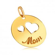 Płaski złoty wisiorek 585 - wycięcia z dwóch serc, wygrawerowany napis Mama, lśniące kółko