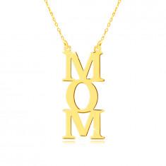 Naszyjnik z żółtego 9K złota - napis MOM, litery pod sobą, łańcuszek z małych oczek