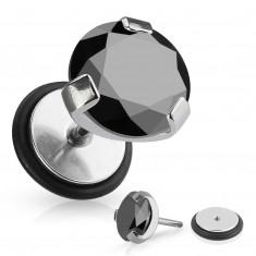 Fałszywy piercing do ucha ze stali chirurgicznej - okrągła czarna cyrkonia, gumka
