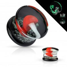 Plug do ucha Pyrex szkło - zalany biały grzyb z czerwonym kapeluszem