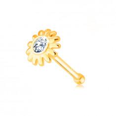 Diamentowy piercing do nosa z żółtego złota 585 - kwiatek z brylantem w bezbarwnym odcieniu
