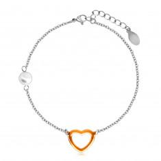 Stalowa bransoletka z perłową kuleczką, zarys serca miedzianego koloru