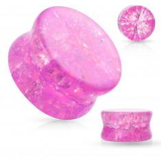 Szklany siodłowy plug do ucha z zaokrąglonymi krawędziami, przezroczysty, różowy kolor, efekt rozbicia