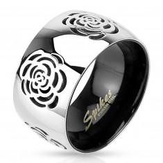 Obrączka ze stali 316L, srebrno-czarny kolor, grawerowane róże