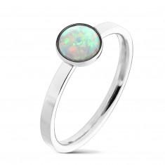 Stalowy pierścionek srebrnego koloru, syntetyczny opal z tęczowymi refleksami, wąskie ramiona