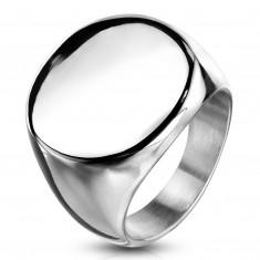 Pierścionek ze stali chirurgicznej, płaskie lśniące koło, srebrny kolor