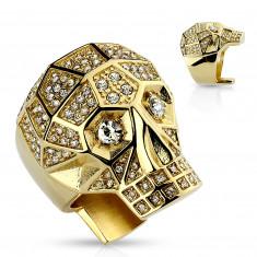 Masywny pierścionek ze stali 316L, złoty kolor, czaszka, przezroczyste kryształy