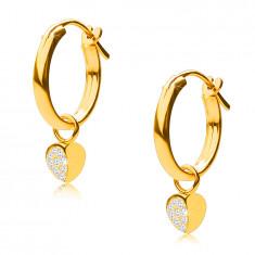 Złote kolczyki z 14K złota, koła z zawieszką w kształcie serca, angielski zamek, 12 mm
